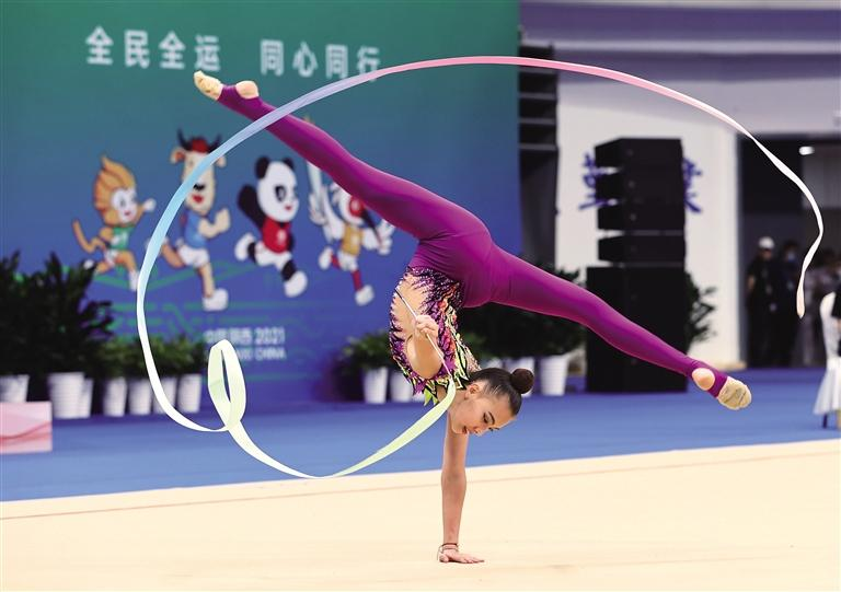 十四运会艺术体操项目测试赛在西北大学长安校区体育馆开赛